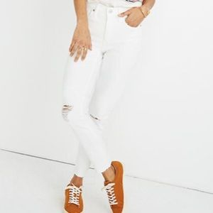 """Madewell 9"""" Mid-Rise Skinny Crop Jeans Rip 27"""